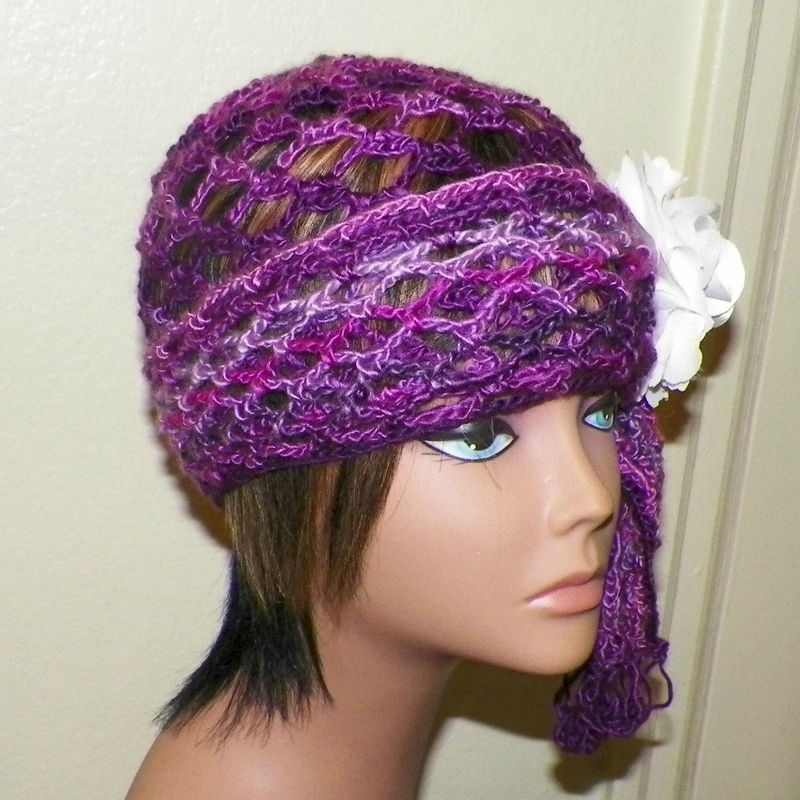 9f680f57b Purple Beanie Hat Cloche Headband Irish Lace Gypsy Crochet Mesh Skullcap  Hippie Boho Flapper Gatsby