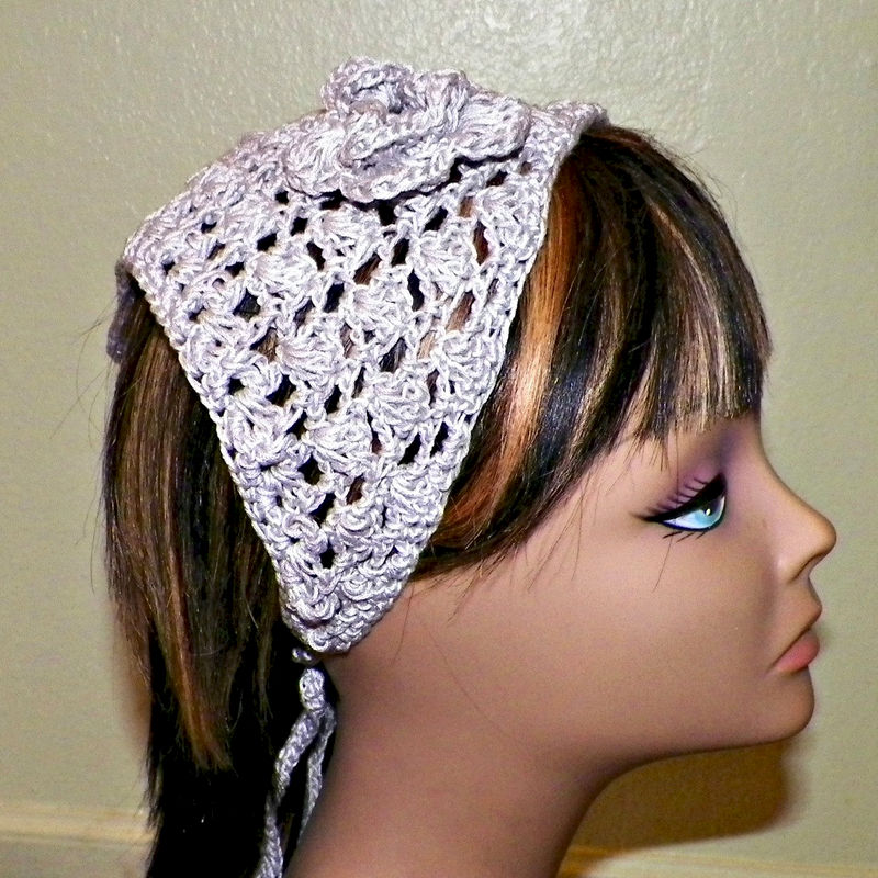 Cotton Hair Bandana Tan Beige Brown Khaki Band Hippie Kerchief Triangle  Head Scarf Rockabilly Gypsy Boho Crochet - Wild Irish Rose Crochet 4a800afaa1a
