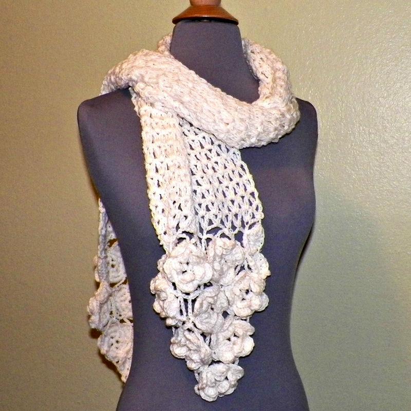 Ivory Flower Scarf Stole Shawl Irish Crochet Lace Freeform