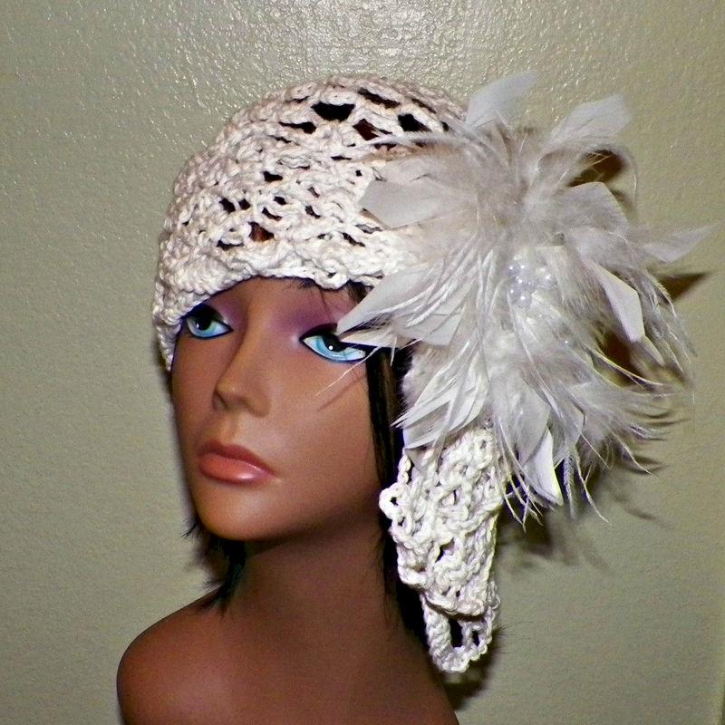 Ivory Womens Cloche Hat Wedding Bridal Cotton Irish Crochet Mesh Beanie Cap  Downton Abby Flapper Cream Crochet Gatsby 1920s Style Feathers - Wild Irish  Rose ... f29881d4dd4
