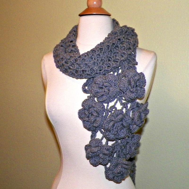Gray Flower Scarf Stole Shawl Irish Crochet Lace Freeform