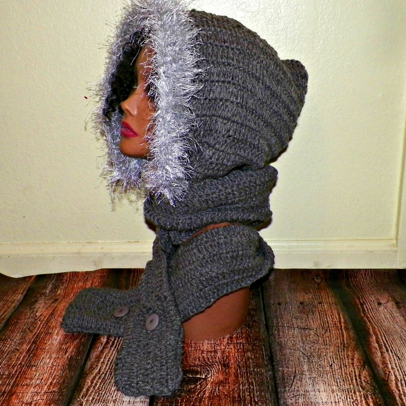 Sale Gray Hood Scarf Hoodie Scoodie With Faux Fur Mitten Pockets