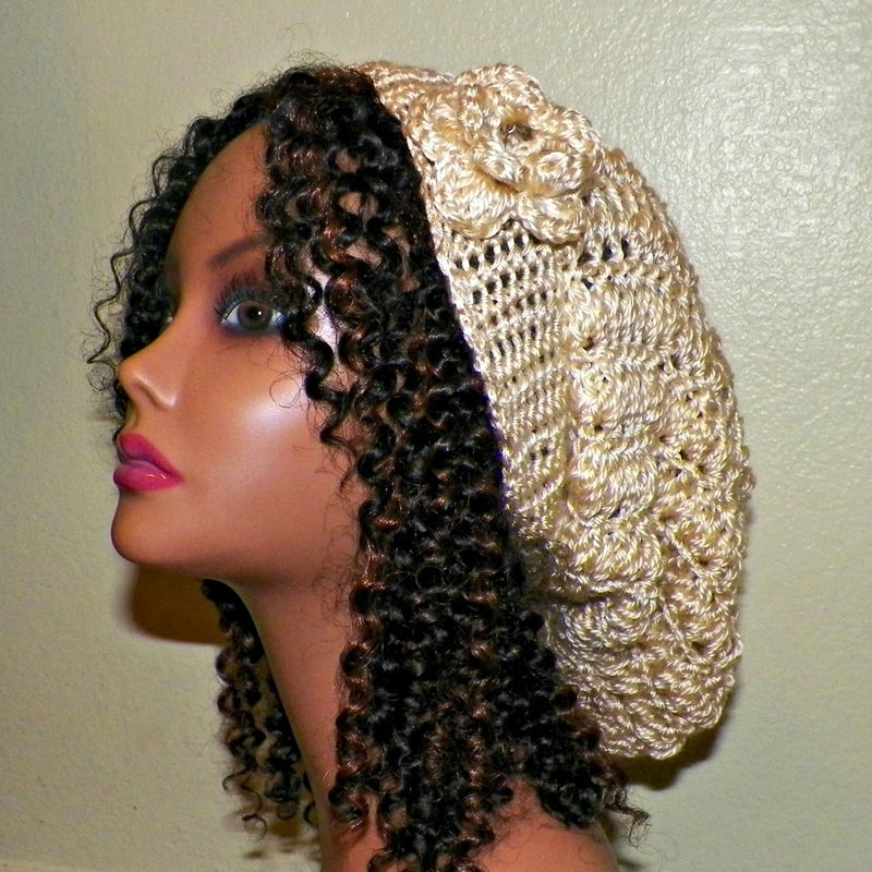 0f6c365ccc2 Sale- Womens Slouchy Hat Cream Off White Crochet Hippie Color Tam Beret  Boho Chunky Winter