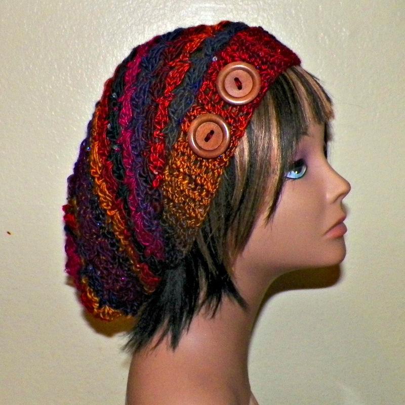 8b11135d5ea Sale- Red Purple Slouchy Hat Womens Crochet Hippie Rainbow Color Tam Beret  Boho Chunky Winter Summer Beanie Rasta - Wild Irish Rose Crochet