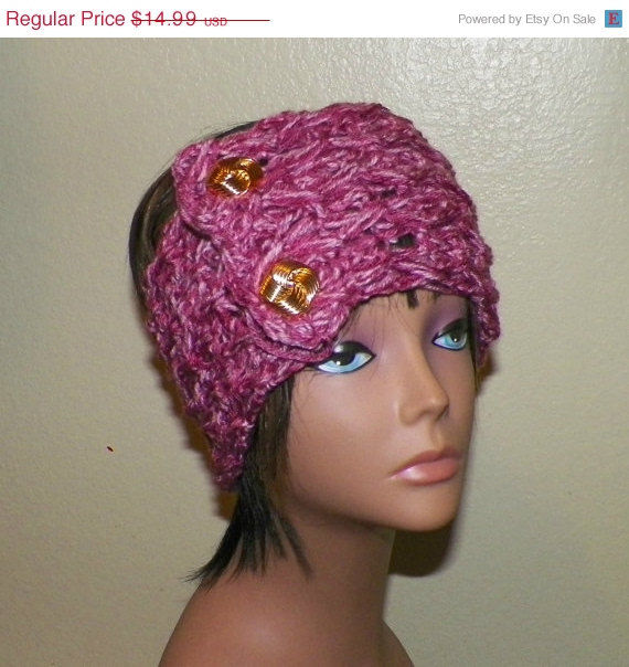 Sale Earwarmer Headband Pink With Gold Buttons Crochet Hair Band