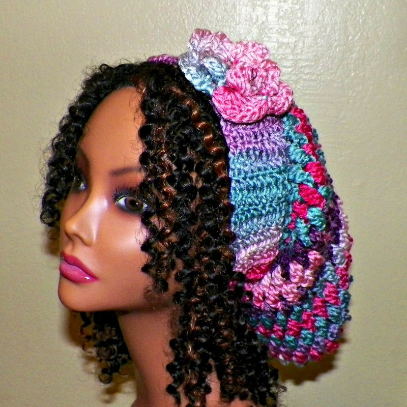 c87bf2f927d Sale- Slouchy Hat Womens Chunky Winter Crochet Hippie Rainbow Pink Purple  Tam Beret Boho Summer Beanie - Wild Irish Rose Crochet