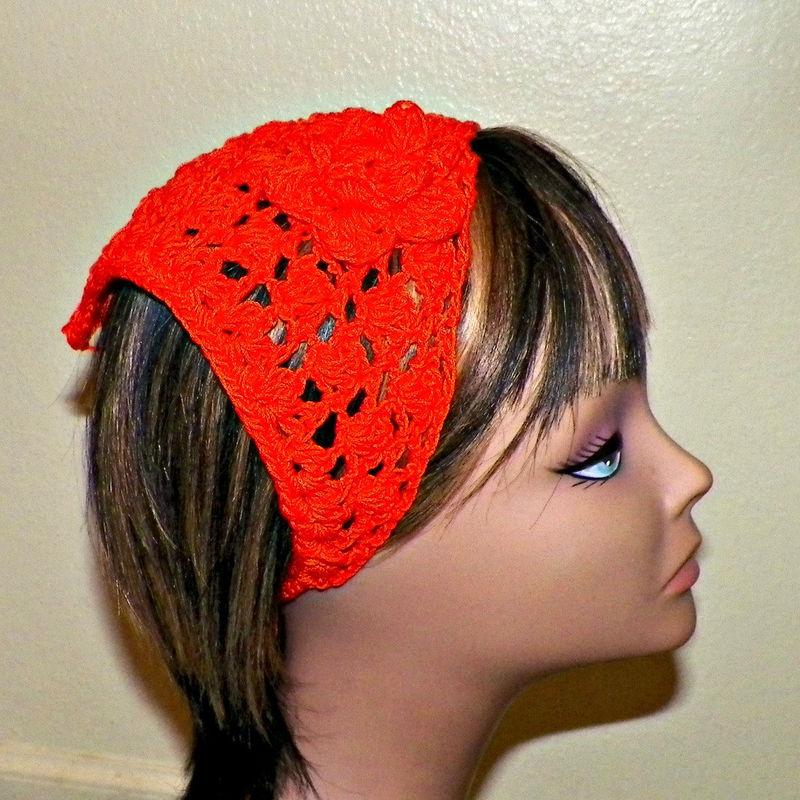 Sale- Orange Hippie Hair Bandana Kerchief Cotton Triangle Head Scarf  Rockabilly Hair Band Gypsy Boho 079edf4f917