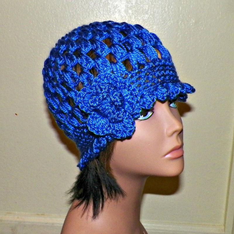 290c42a45b64f Sale- Cloche Hat Blue Flapper Womens Downton Abby Freeform Beanie Crochet  Flower Gatsby Bucket 1920s Style - Wild Irish Rose Crochet