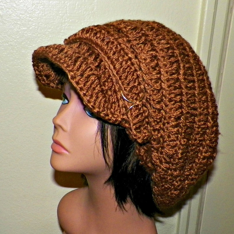 d8c4e4b8f1e Sale- Newsboy Slouchy Hat Brown Crochet Womens Tam Beret Boho Chunky Beanie  Rasta - Wild Irish Rose Crochet