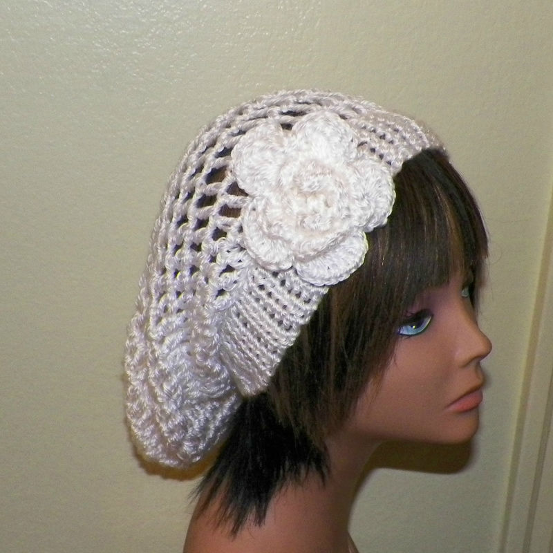 2d6c31e8465a1 Sale- White Ivory Slouchy Hat Summer Crochet Womens Tam Beret Boho Mesh  Open Weave Rose Flower Beanie Rasta - Wild Irish Rose Crochet