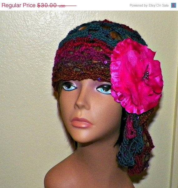 117683671 Sale- Pink Blue Beanie Hat Cloche Headband Irish Lace Gypsy Crochet Mesh  Skullcap Hippie Boho Flapper Gatsby