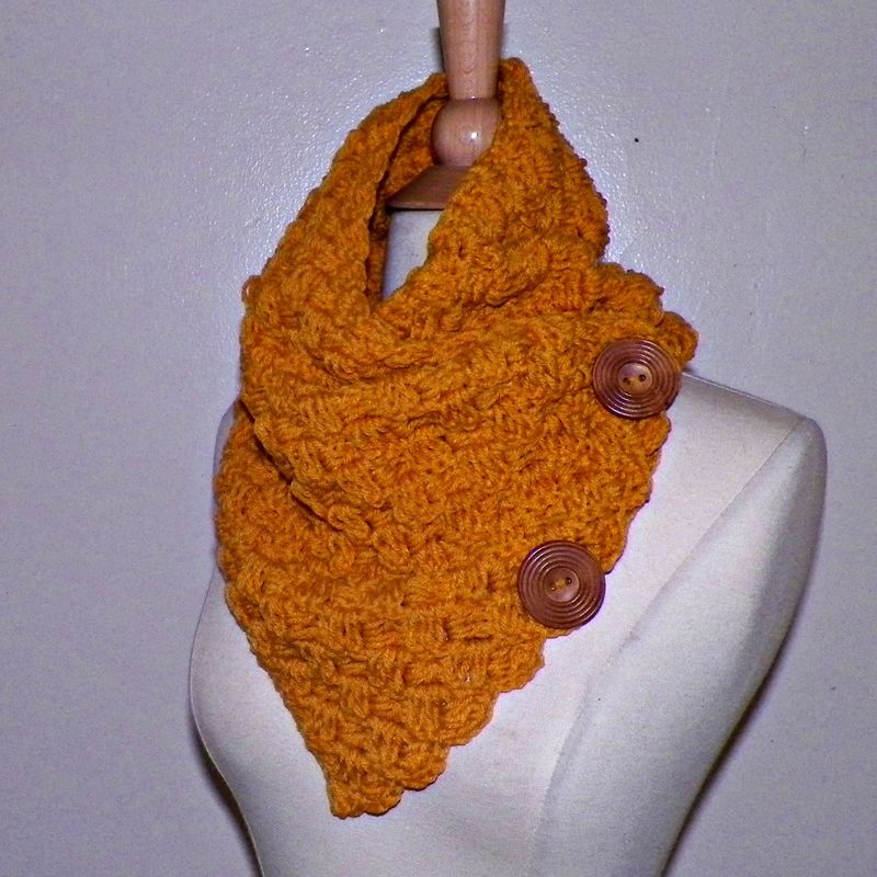 Infinity Scarf Cowl Button Neckwarmer Winter Mustard Yellow Gold