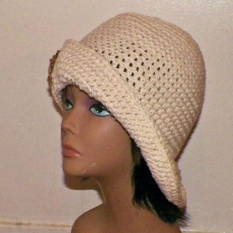 28407de9254 Ivory Cloche Hat Flapper Cream Womens Button Downton Abbey Freeform Off  White Beanie Crochet Gatsby Bucket 1920s Style - Wild Irish Rose Crochet