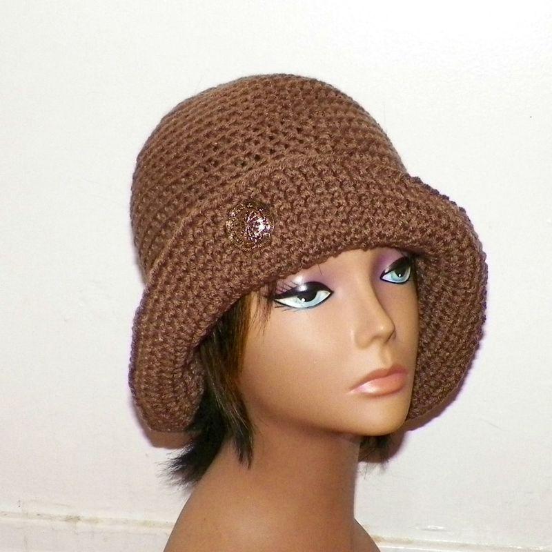 2db6fee899be94 Brown Cloche Hat Flapper Womens Button Downton Abbey Freeform Cafe Latte  Beanie Crochet Gatsby Bucket 1920s Style - Wild Irish Rose Crochet