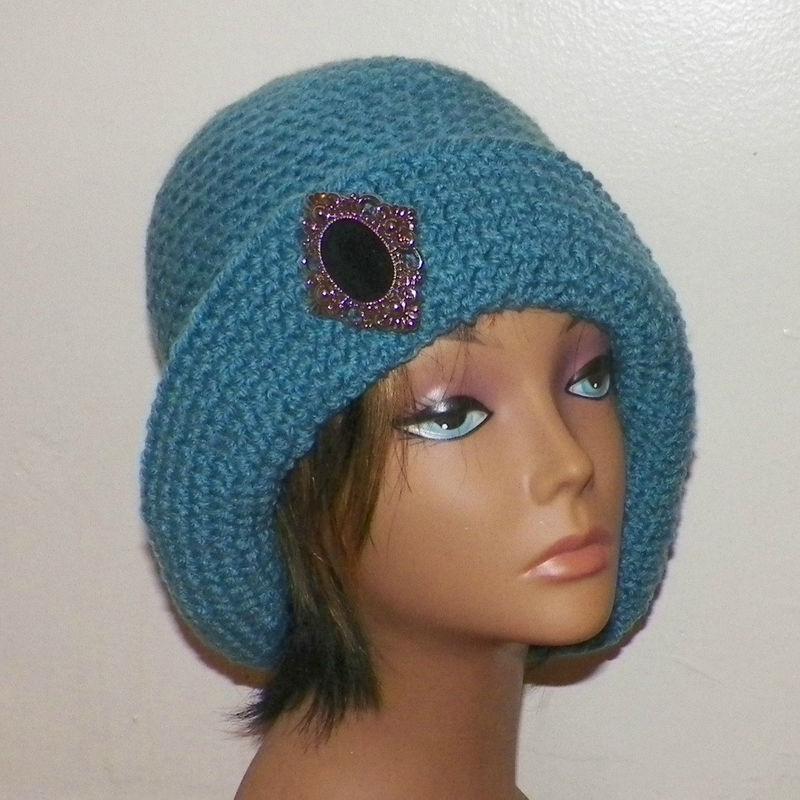 912a1f4d31e Blue Cloche Hat Flapper Womens Button Downton Abbey Freeform Beanie Crochet  Gatsby Bucket 1920s Style - Wild Irish Rose Crochet