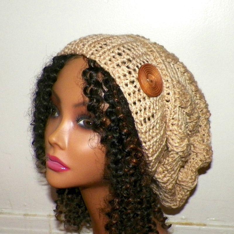 Slouchy Hat Womens Crochet Tan Beige Celtic Cable Weave