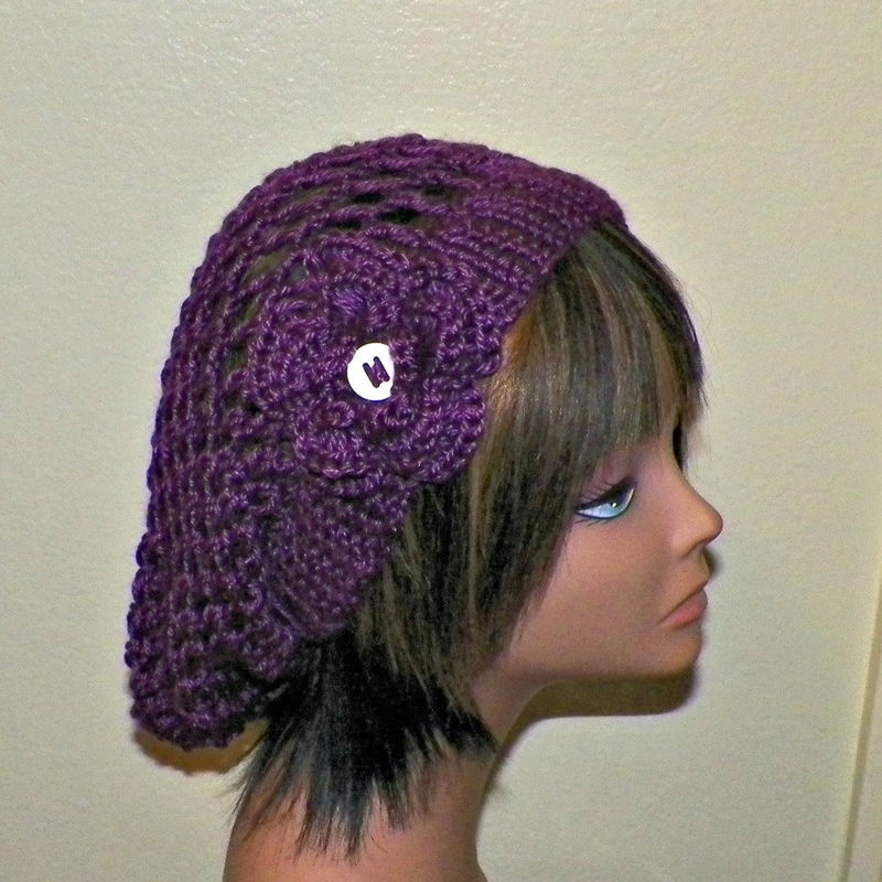 ec83b8a2c22 On Sale- Purple Slouchy Hat Summer Crochet Womens Tam Beret Boho Mesh Open  Weave Rose Flower Beanie Rasta - Wild Irish Rose Crochet