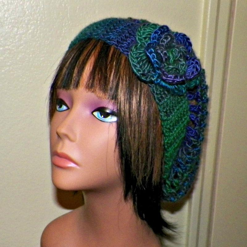 8192e0facb0 On Sale- Green Purple Slouchy Hat Womens Crochet Summer Hippie Tam Beret  Boho Mesh Open Weave Rose Flower Beanie Rasta - Wild Irish Rose Crochet