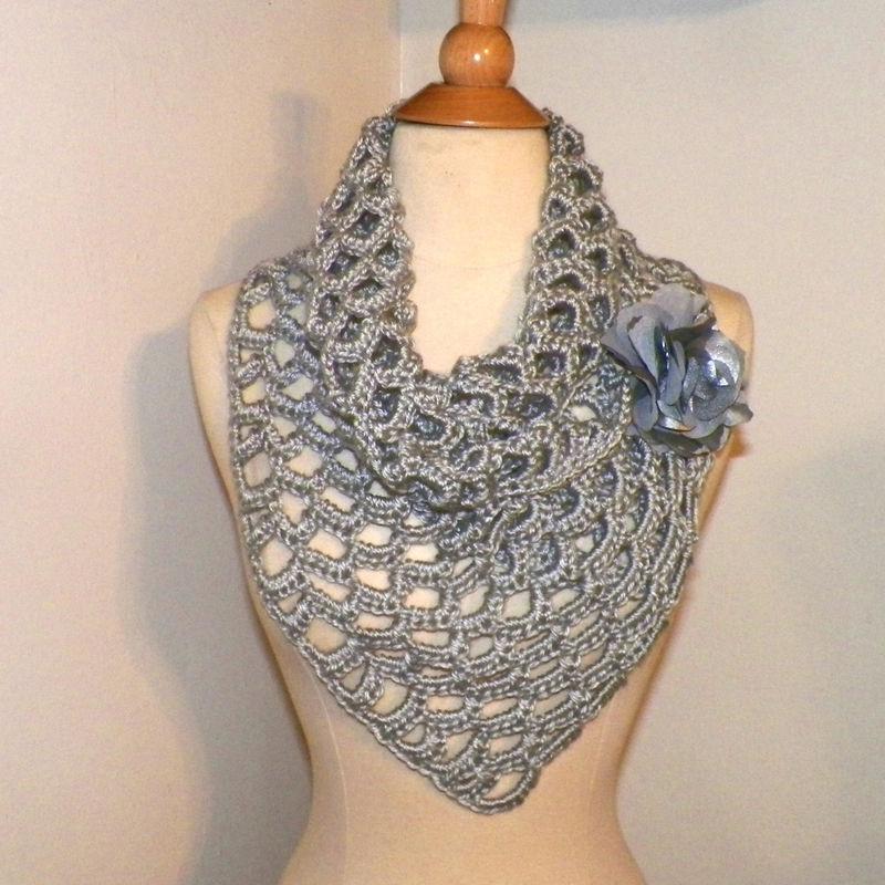 On Sale Triangle Scarf Silver Gray Lace Freeform Irish Boho Crochet