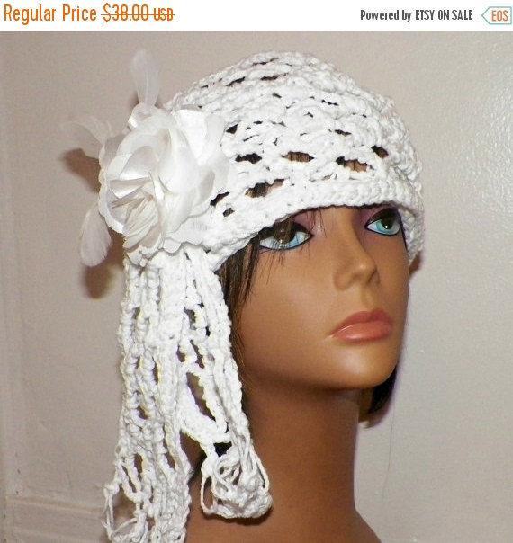 On Sale- Womens Cloche Hat White Wedding Bridal Cotton Irish Crochet Mesh  Beanie Cap Downton c3e49c223c9