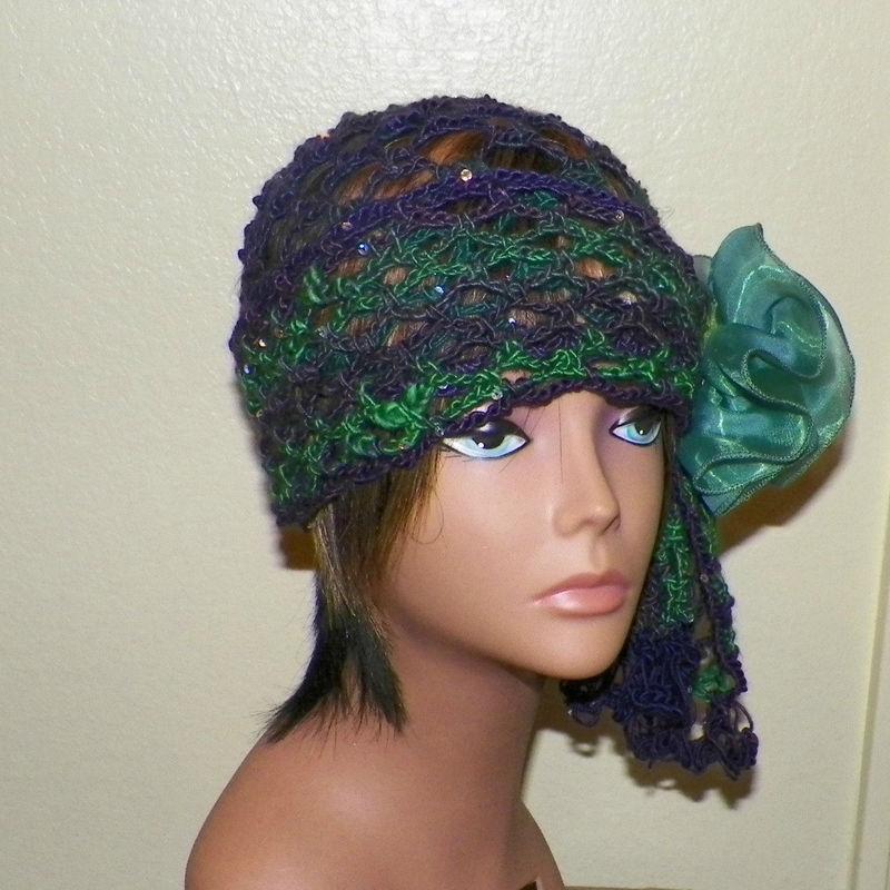 f40b93d05 Spring Sale- Green Purple Beanie Hat Cloche Headband Irish Lace Gypsy  Crochet Mesh Skullcap Hippie Boho Flapper Gatsby