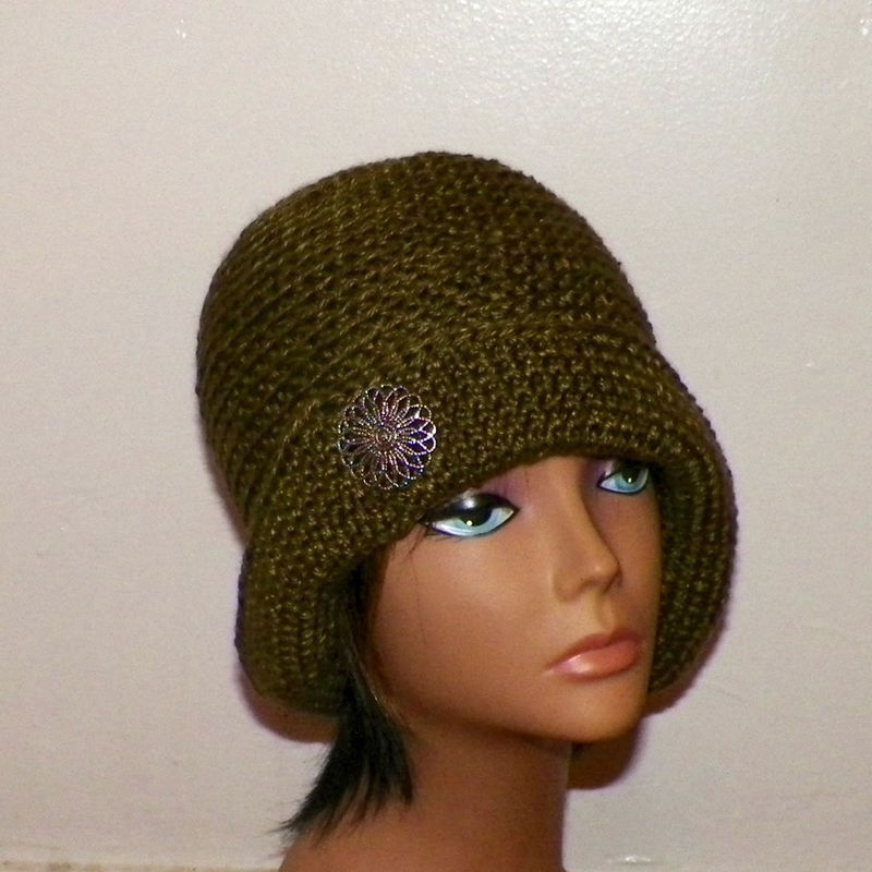 de6c4563f1e Olive Green Cloche Hat Flapper Womens Button Downton Abbey Freeform Earth  Tone Beanie Crochet Gatsby Bucket 1920s Style - Wild Irish Rose Crochet