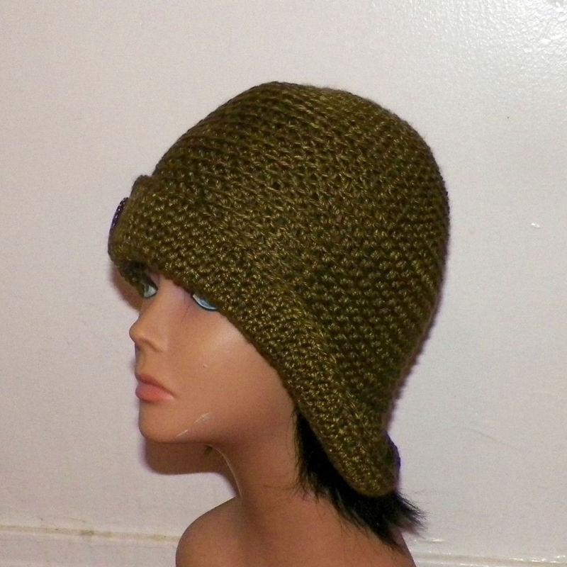 2b4dc43f143 Olive Green Cloche Hat Flapper Womens Button Downton Abbey Freeform Earth  Tone Beanie Crochet Gatsby Bucket