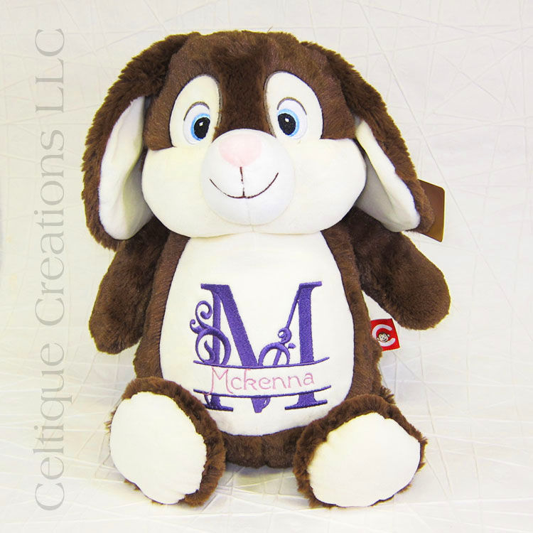 Personalized Bunny Stuffed Animal Chocolate Brown Cubbies Celtique