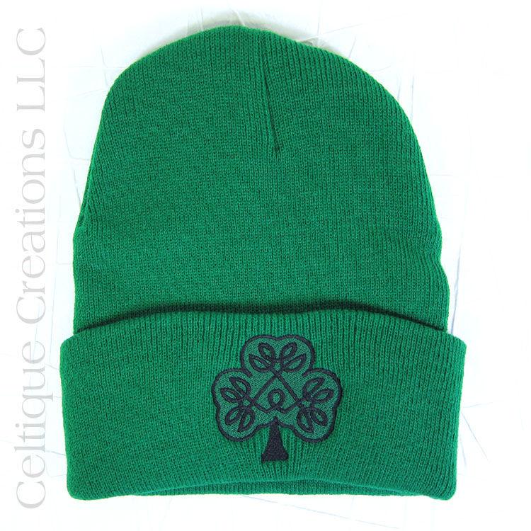 Irish Celtic Shamrock Kelly Green Winter Hat - Celtique Creations f7cedb7c839