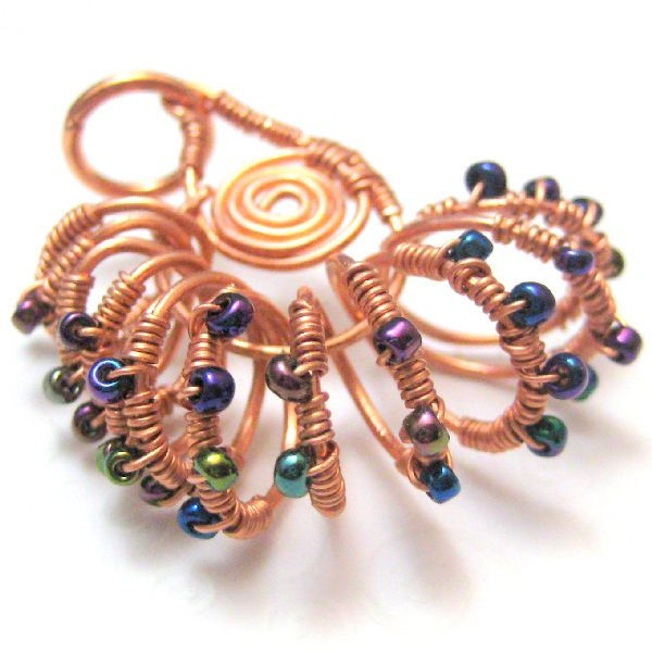 Nautilus Shell Handmade Wire Wrapped Copper Pendant Silver River
