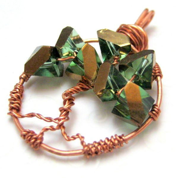 Handmade Tree Of Life Copper Pendant Green And Gold Silver River