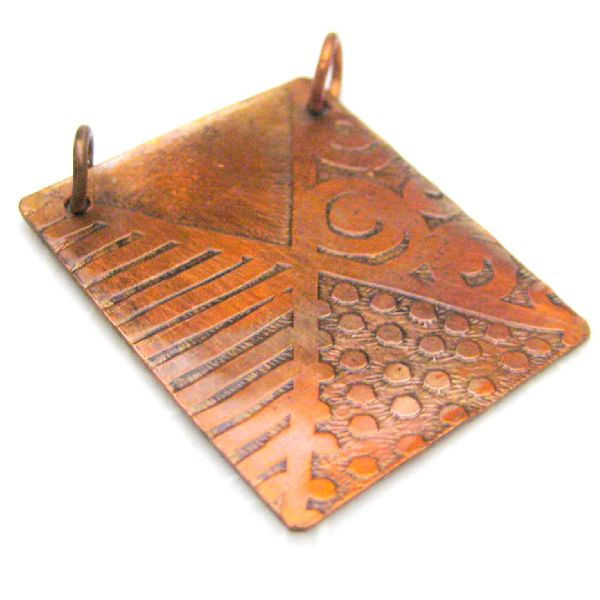 Handmade Etched Original Abstract Art Copper Pendant Silver