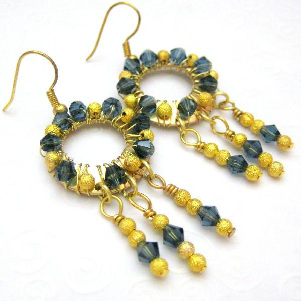 Handmade Wire Wred Dangle Hoop Earrings Gold And Blue
