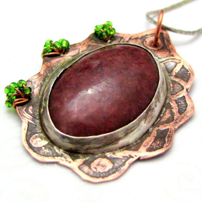 Handmade Metal And Stone Copper Pendant Etched And Wire Wrapped
