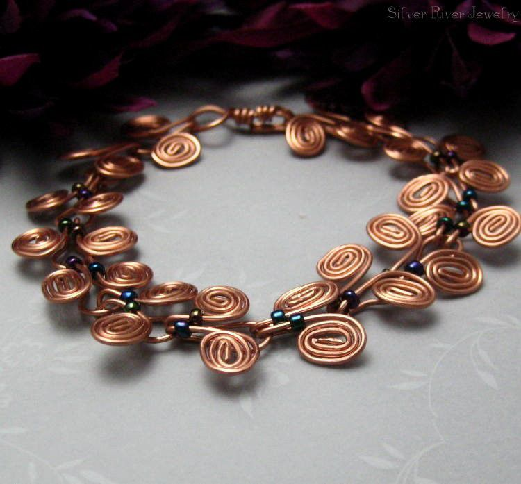Copper Egyptian Coil Bracelet With Dark Metallic Seed