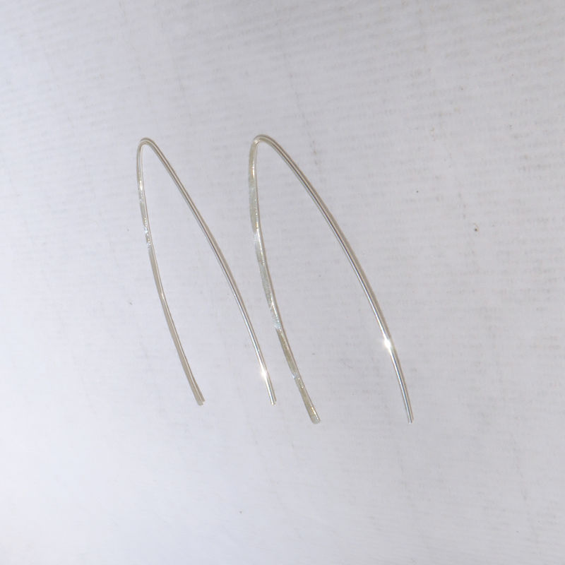 Sterling Silver Wishbone Earrings Made Of Hammered Argentium