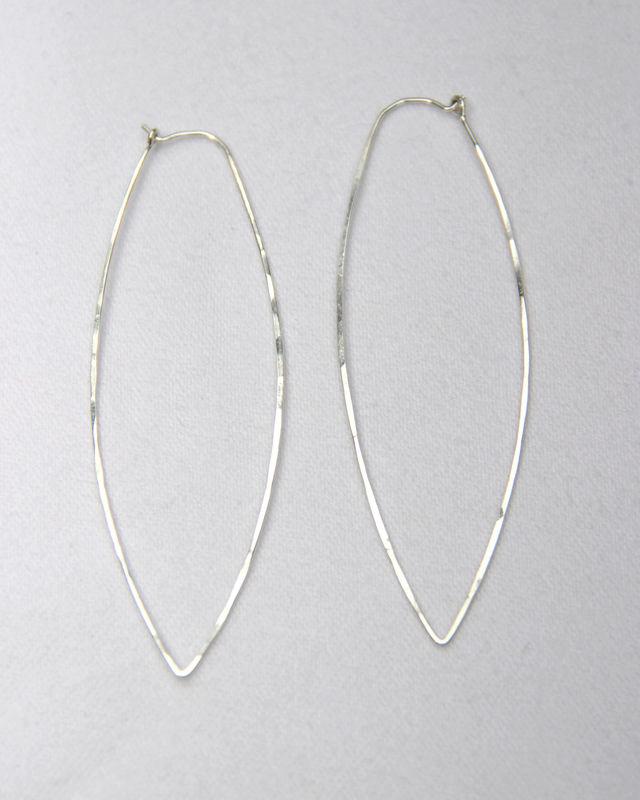 Cat Eye Hoop Earrings Argentium Sterling Silver Nickel Free Everyday Jewelry Product Images
