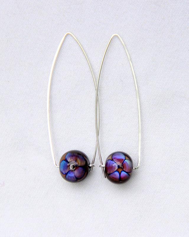 1903117bd Purple Flower Lampwork Bead Wishbone Hoop Earrings, Argentium Sterling  Silver, Nickel-Free -