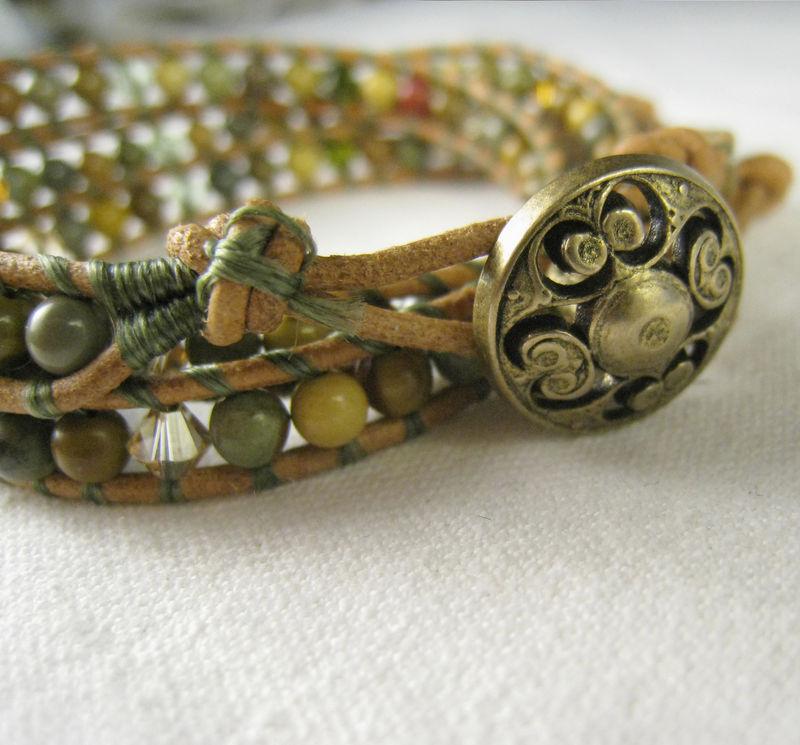 Leather Wrap Bracelet Swarovski Crystals Wild Horse Jasper Triple On Closure