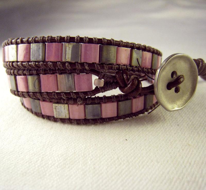 Leather Triple Wrap Bracelet Pink Silver Tila Beads Brown On Closure
