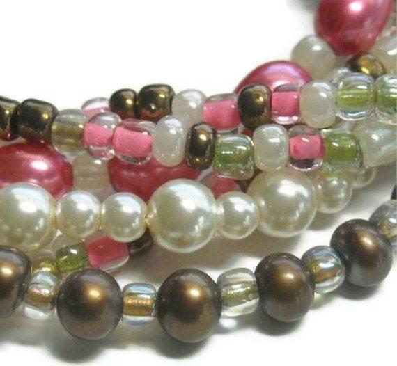 Thunderbird Necklace, Multi Strand Pearl Necklace, Blush Pink, Bronze,  Mixed Media, Southwest, Thunderbird Jewelry, Symbolic Bird, Native