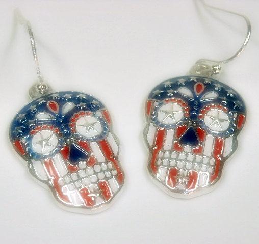 ab63643ef Sugar Skull Earrings, Dia de los Muertos, Day of the Dead, Skull Dangle  Earrings, Skull Jewelry, Halloween, Calaveras, Patriotic, Flag Skull -  epicetera