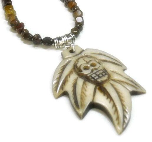 Mens Skull Necklace Bone Skull Maple Leaf Guys Tiger Iron Necklace With Bone Skull Day Of The Dead Rocker Tribal Skull Jewelry Epicetera
