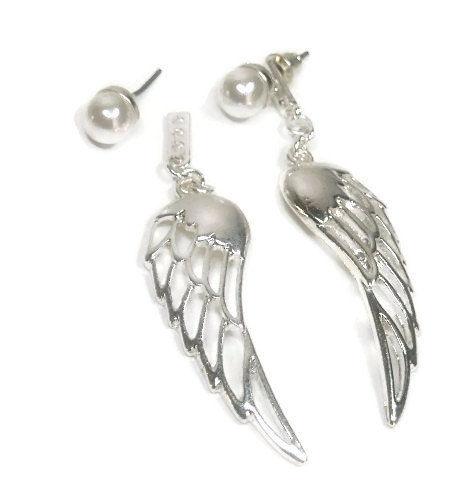 Angel Wings Wing Earrings Ear Jacket Double Front Back Post Stud Drop Pearl