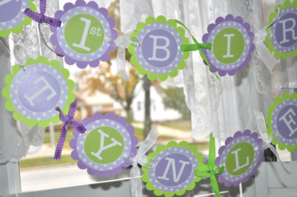 Purple And Green Baby Shower Decorations