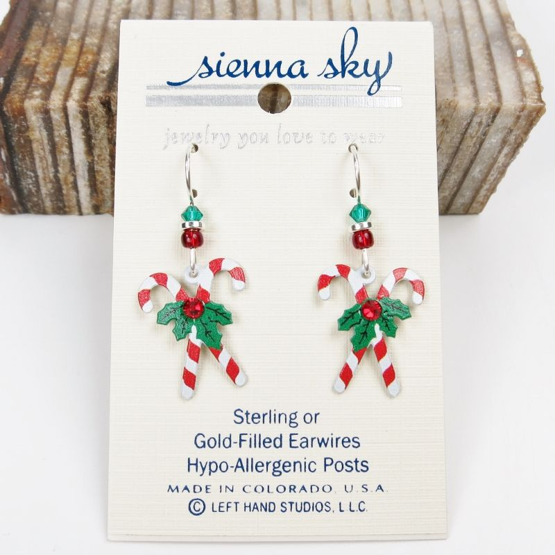 0783aa08540db Sienna Sky Earrings - Crossed Candy Canes with Holly
