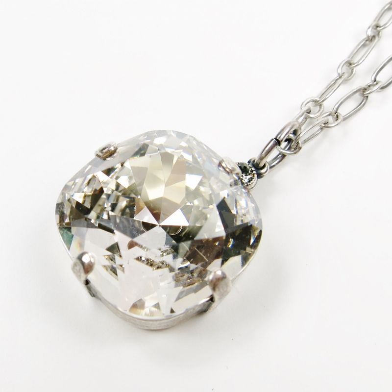10c5d39d5ce6 Catherine Popesco 18 mm Large Swarovski Crystal Pendant Antique Silver  Necklace in Shade - product image