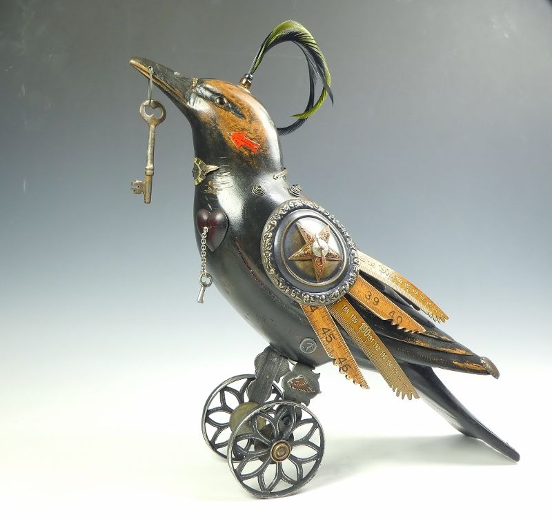 Mullanium Bird Large Raven With Antique Key Sold Talich