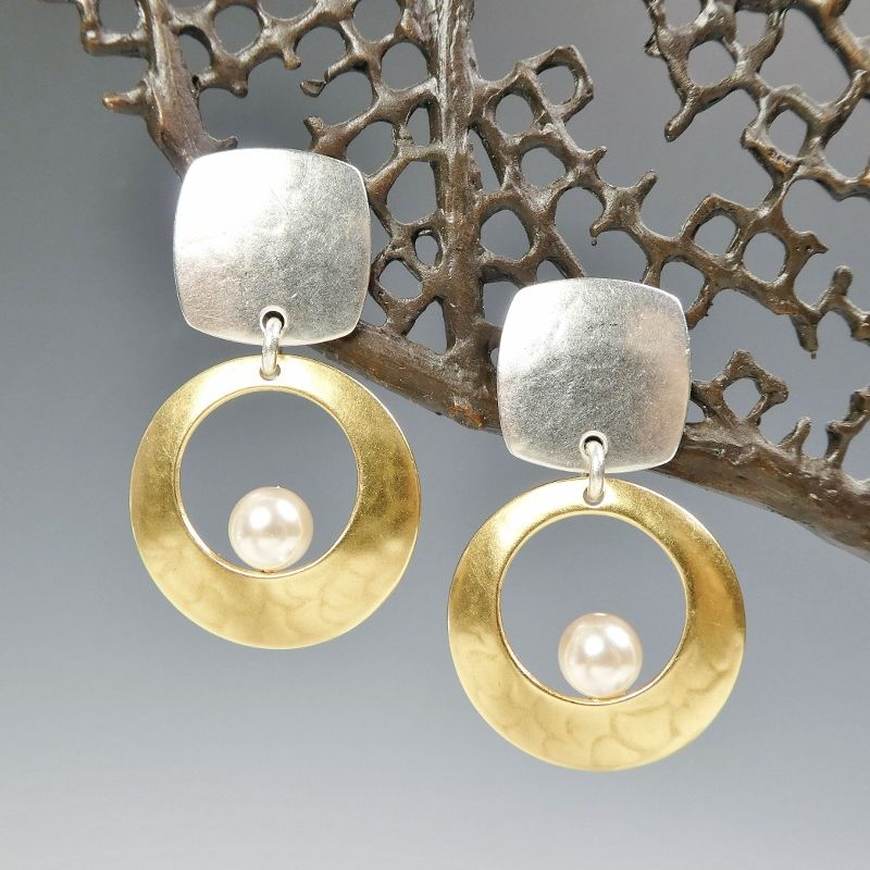 Marjorie Baer Square With Cutout Disc Floating Cream Pearl Earrings Product Image