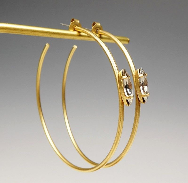 on feet images of top design most desirable fashion Catherine Popesco Large Gold Hoop Earrings with Swarovski Crystal